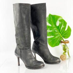 Lavorazione Artigiana 8.5 Boot Black Leather Heel Tall Lug Sole Knee High