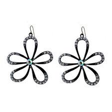 Très joli grand argent noir découpe marguerite dangle earrings avec cristal