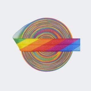 Rainbow Elastic Bright Pride Elastic printed Elastic fold over elastic pastel