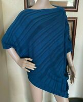 Lane Bryant Womens Ruched Boat Neck Diagonal Stretch Tunic Top sz 18 20 or 2X