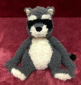 Jellycat  Rafferty Raccoon Soft Toy Grey Black & White Beanie Retired 23cm Rare