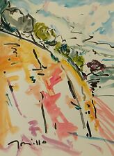 JOSE TRUJILLO LARGE Impressionism Watercolor Painting ORIGINAL Landscape HILL