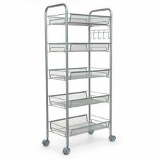 5 Tier Shelving Rack Shelf Shelving Rolling Kitchen Storage Utility Cart Us