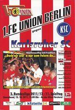 Neues AngebotProgramm 1.FC Union Berlin - Karlsruher SC  15.10.2011 - 2.Bundesliga 2011/2012
