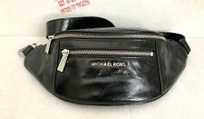 Michael Kors Mott Black Patent  Leather Medium Convertible Belt Bag, Waistpack