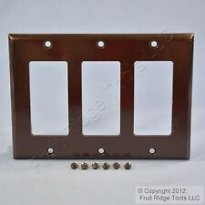 New Leviton Brown Decora Standard 3-Gang Wallplate GFCI GFI Plastic Cover 80411