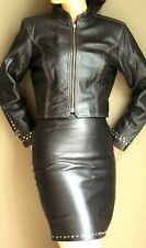 BLACK LEATHER  SUIT - STUDDED JACKET and  SKIRT-  size 6 TANNERY WEST