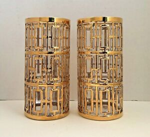 Set of 2 Imperial Glass Shoji 22-Karat Gold Mid-Century Highball Glasses