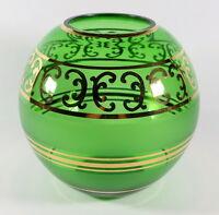 """Vtg Bohemia Czech Art Glass Round Globe Vase Green Gold Overlay Swirl 6 3/4"""" H"""