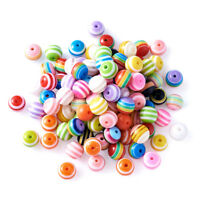 100 Pcs Round Resin Stripe Beads For DIY Crafts Jewelry Making Mixed Color 10mm