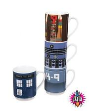 DR WHO SET OF 4 STACKING COFFEE MUGS CUPS NEW IN GIFT BOX TARDIS K9 TOM BAKER