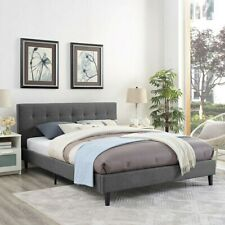 Queen size fabric tufted bed frame with headboard  footboard and wooden slats