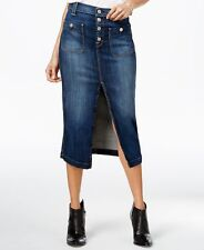 NWT 7 FOR ALL MANKIND Sz25 LONG SKIRT W/EXPOSED BUTTONS SKIRT LA PALMA BLUE $198