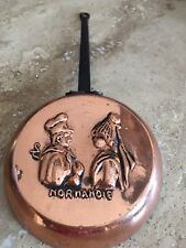 French Solid Copper Pan 4� Painted Metal Handle Embossed Normandie 10 1/2�