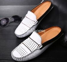 chic mens slip on breathable backless slippers shoes mesh loafers sandals casual