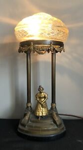 Victorian Table Lamp Light With Cut Glass Shade