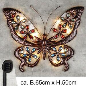 LED Solar Wand Deko Schmetterling Lampe Außen Garten Beleuchtung Figur Leuchte