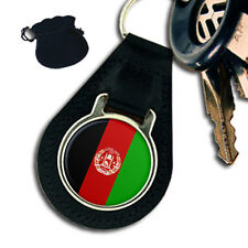 AFGHANISTAN FLAG LEATHER KEYRING / KEYFOB GIFT