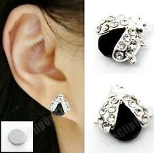 MAGNETIC clip on LADYBIRD STUD EARRINGS rhinestone crystal studs silver pl black