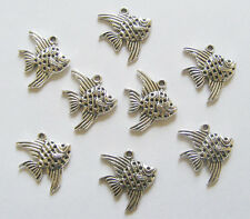 10 Metal Antique Silver Fish Charms - 21mm