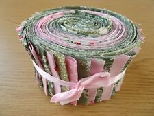 JELLY ROLL STRIPS 100% COTTON PATCHWORK FABRIC PINK / GREEN 25 PIECES