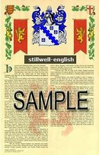 STILLWELL Armorial Name History - Coat of Arms - Family Crest GIFT! 11x17