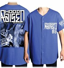 Dyse One Hood Raised Blue Baseball Jersey Skull Urban Streetwear Tattoo Art