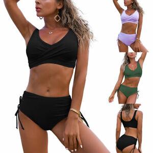 Women Two Piece Bikini Set High Waist Swimwear Push Up Swimsuit Top + Bottoms