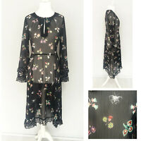 M&S Sheer Dress 12 Navy Blue Long Sleeve Ruffle Lagenlook Butterfly Floral Midi