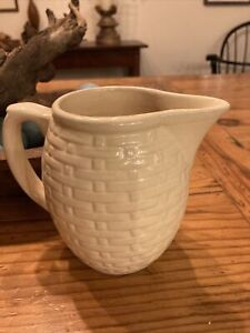 Vintage Weller Pottery Pitcher Pale Yellow/Cream Basket Weave Design