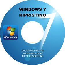 WINDOWS 7 64bit DISCO DI RIPRISTINO DVD RIPARA WINDOWS 7 64BIT + 2 ANTIVIRUS!!!
