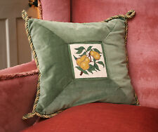 Beautiful Country House Velvet Feather Cushion, Tapestry Pear Panel, per Morris