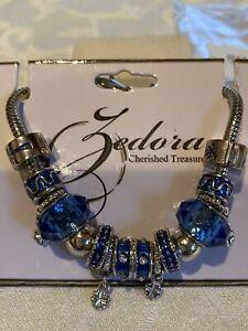 """ZEDORA"" Cherished Treasures STAINLESS STEEL BLUE GLASS Charm Bracelet, NEW"