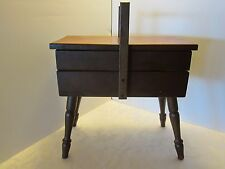 Floor Stand Wood Sewing Knitting Cabinet Organizer 2 swing drawer  Mid century