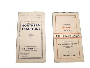 Vintage folding Maps Of Australia H E C Robinson  (2 Maps )