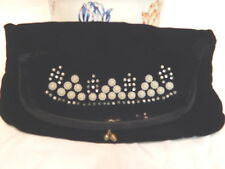 Vintage Black Satin Clutch Purse/Bag w/Faux Pearls Foldover top FREE SHIPPING!!