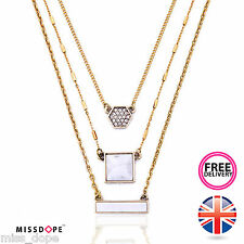 NEW GOLD MARBLE LONG CRYSTAL SQUARE MULTI LAYER NECKLACE PENDANT GYPSY WOMENS UK