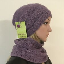 HAND KNITTED  LADIES  AMETHYST  100%  MERINO WOOL BEANIE & COWL SET