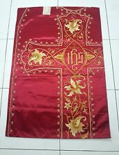 Antique French Vestment IHS Burgundy & Gold Damask Embroidered Panel