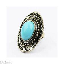 Bellissimo anello ovale vintage regolabile con centrale celeste antico - Bronzo