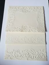 Embossed Note Cards- 6 ivory (4 x 5) cards With white Envelopes - Blank Inside