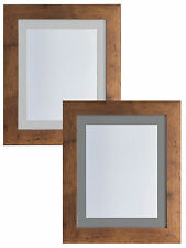 Metro Vintage Wood Picture Photo Frames with Light Grey or Dark Mounts MDF Wood