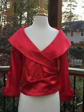 Red Satin Blouse Portrait Neckline Size M Med Valentines Day Romantic Wedding