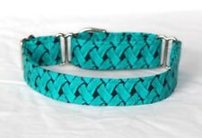 """1"""" Small Whippet Martingale Dog Collar Teal Basket Weave"""