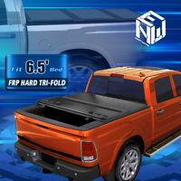 For 14-19 Silverado Sierra 6.5Ft Bed FRP Hard Tri Fold Clamp-On Tonneau Cover