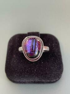 Genuine Sterling Silver 925 - Lovely Free Form Dichroic Glass Ring - 7 / O - 3g