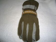 Mens ISOTONER Gloves Sz M/L New 2 Tone Army/ Brown Color  Leather/ Polyester