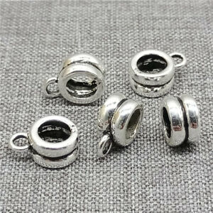 8pcs of 925 Sterling Silver Bail Bead Charms Large Hole 5mm for Bracelet