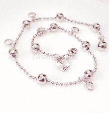 Women White Gold Plated Ball Heart Charm Anklet Friendship Bracelet 27cm Xmas