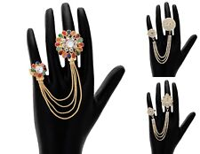 Double Finger Rings Women Indian Fashion Designer Silver Plated Crystal Party